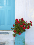 Red Geraniums, Chora, Amorgos, Cyclades, Aegean, Greek Islands, Greece, Europe Photographic Print by  Tuul
