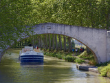 Navigation on Canal du Midi, UNESCO World Heritage Site, Languedoc Roussillon, France Photographic Print by  Tuul