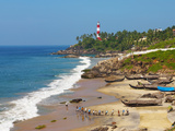 View to the Lighthouse with Fishermen, Kovalam, Kerala, India, Asia Photographic Print by Stuart Black
