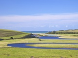River Cuckmere Meets English Channel, Cuckmere Haven, East Sussex, South Downs Nat'l Park, England Photographic Print by Peter Barritt