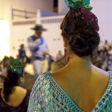 Spanish Girl Watching Horse-Back Feria Procession, Tarifa, Andalucia, Spain, Europe Photographic Print by Giles Bracher