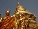 Statues and Chedi in Doi Suthep Temple, Chiang Mai, Thailand, Southeast Asia, Asia Photographic Print by  Godong