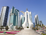 Coffee Pot Monument and New Skyline of West Bay Central Financial District of Doha, Qatar Photographic Print by Gavin Hellier