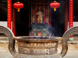 Urn of Burning Incense Sticks at Bamboo Temple Which Dates Back to Tang Dynasty, Kunming, China Photographic Print by Lynn Gail