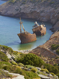 Wreck of the Boat from the Big Blue Movie, Amorgos, Cyclades, Aegean, Greek Islands, Greece, Europe Photographic Print by  Tuul