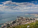 Bay of Gibraltar and Gibraltar Town from the Top of the Rock, Gibraltar, Europe Photographic Print by Giles Bracher
