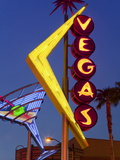 Neon Vegas Sign at Dusk, Downtown, Freemont East Area, Las Vegas, Nevada, USA, North America Photographic Print by Gavin Hellier
