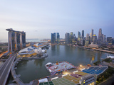 The Helix Bridge and Marina Bay Sands, Elevated View over Singapore, Marina Bay, Singapore Photographic Print by Gavin Hellier