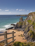 Looking Down to the Bedruthan Steps on the North Cornwall Coastline, Cornwall, England, UK, Europe Photographie par Julian Elliott