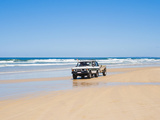 Tourists on 75 Mile Beach Self Drive 4x4 Tour of Fraser Is, UNESCO World Heritage Site, Australia Photographic Print by Matthew Williams-Ellis