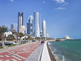 Corniche Towards New Skyline of West Bay Central Financial District, Doha, Qatar, Middle East Photographic Print by Gavin Hellier