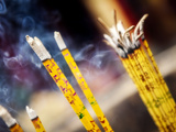 Burning Incense Sticks at Bamboo Temple Which Dates Back to Tang Dynasty, Kunming, China Photographic Print by Lynn Gail