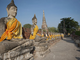 Old Buddha Statue in Wat Yai Chaimongkol Temple, Ayutthaya, UNESCO World Heritage Site, Thailand Photographic Print by Antonio Busiello