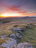 A Colourful Dawn on Chinkwell Tor in Dartmoor National Park, Devon, England, United Kingdom, Europe Photographic Print by Julian Elliott
