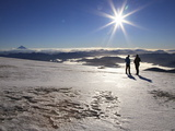 People Watching a Sunrise on a Volcanic Glacier, Huilo Huilo, Chile, South America Photographic Print by Stuart Keasley