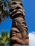 Wooden Statues in Sculpture Garden of La Foa, Grand Terre, New Caledonia, South Pacific Photographic Print by Michael Runkel