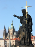 St John the Baptist Sculpture on Charles Bridge, UNESCO World Heritage Site, Prague, Czech Republic Photographic Print by  Godong