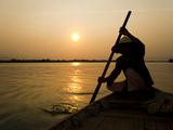 Old Lady Rowing in Hoi an Harbour Silhouetted at Sunset, Vietnam, Indochina, Southeast Asia, Asia Photographic Print by Matthew Williams-Ellis