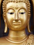 Golden Statue at Base of Big Buddha the Pilgrimage Site Near Chalong Circle, Phuket, Thailand Photographic Print by Lynn Gail