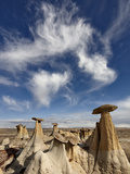 Yellow Hoodoos under a Wispy Cloud, San Juan Basin, New Mexico, USA, North America Photographic Print by James Hager
