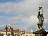 John of Nepomuk Statue on Charles Bridge, UNESCO World Heritage Site, Prague, Czech Republic Photographic Print by  Godong