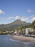 View of Saint-Pierre Showing Mount Pelee in Background, Martinique, Lesser Antilles, West Indies Photographie par Adina Tovy