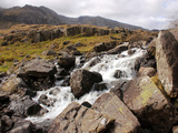 River Idwal Drains from Llyn Idwal, Pont Pen-Y-Benglog, Snowdonia, Wales, UK Photographic Print by Raj Kamal