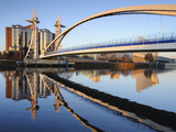 Early Morning View of the Millennium Bridge, Salford Quays, Manchester, Greater Manchester, England Photographic Print by Chris Hepburn