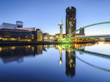 Millennium Bridge and Lowry Centre at Dawn, Salford Quays, Manchester, Greater Manchester, England Photographic Print by Chris Hepburn