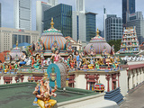 The Roof of the Sri Mariamman Temple, a Dravidian Style Temple in Chinatown, Singapore Photographic Print by Gavin Hellier