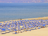 Beach and Sunshades on Beach at Giorgioupolis, Crete, Greek Islands, Greece, Europe Photographic Print by Guy Thouvenin