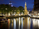 Munttoren and Canal at Dusk, Amsterdam, Holland, Europe Photographic Print by Frank Fell