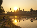 Tourist Watching Sunrise at Angkor Wat Temple, UNESCO World Heritage Site, Siem Reap, Cambodia Photographic Print by Matthew Williams-Ellis
