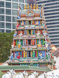 Close Up of Gopuram of Sri Mariamman Temple, a Dravidian Style Temple in Chinatown, Singapore Photographic Print by Gavin Hellier