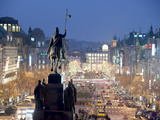 Statue of St. Wenceslas and Wenceslas Square at Twilight, Nove Mesto, Prague, Czech Republic Photographic Print by Richard Nebesky