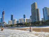 Surfers Heading Out to Surf at Surfers Paradise Beach, the Gold Coast, Queensland, Australia Photographic Print by Matthew Williams-Ellis