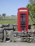 Red Telephone Box, Monyash, Peak District, Derbyshire, England, United Kingdom, Europe Photographic Print by Frank Fell