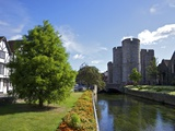Westgate Medieval Gatehouse and Gardens, with Bridge over River Stour, Canterbury, Kent, England Photographic Print by Peter Barritt