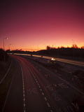 Roadworks and Lane Closures on the M5 Motorway at Dusk, Near Birmingham, West Midlands, England, UK Photographic Print by Ian Egner
