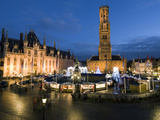 Christmas Market in Market Square with Belfry Behind, Bruges, West Vlaanderen (Flanders), Belgium Photographic Print by Stuart Black