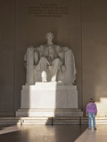 The Statue of Lincoln in the Lincoln Memorial Being Admired by a Young Girl, Washington D.C., USA Photographic Print by Mark Chivers