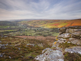 Looking Down to Widecombe-In-The-Moor from Chinkwell Tor in Dartmoor National Park, Devon, England Photographic Print by Julian Elliott