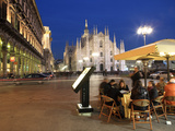 Restaurant in Piazza Duomo at Dusk, Milan, Lombardy, Italy, Europe Photographic Print by Vincenzo Lombardo