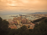 High Angle View of Malaga Cityscape with Bullring and Docks, Andalusia, Spain, Europe Photographic Print by Ian Egner