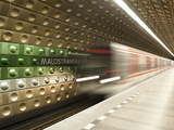 Metro Carriages Arriving at Malostranska Station, Mala Strana, Prague, Czech Republic, Europe Photographic Print by Richard Nebesky