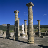 Roman Ruins with Statue of Emperor Trajan, Baelo Claudia, Near Tarifa, Andalucia, Spain, Europe Photographic Print by Stuart Black