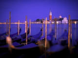 Gondolas at Dusk with San Giorgio Maggiore Island in the Background, Venice, Italy, Europe Photographic Print by Ian Egner