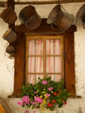 Shuttered Windows and Flowers, Corvara, Badia Valley, Trentino-Alto Adige/South Tyrol, Italy Fotodruck von Frank Fell