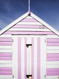 Pink and White Striped Beach Hut, Felixstowe, Suffolk, England, United Kingdom, Europe Photographic Print by Mark Sunderland
