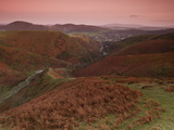 View at Dusk over Carding Mill Valley and Long Mynd Towards Church Stretton, Shropshire, England Photographic Print by Ian Egner